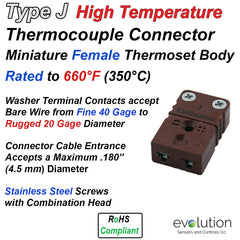 Type J High Temperature Miniature Female Thermocouple Connector - Thermoset Design