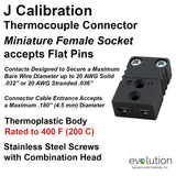 Thermocouple Connectors Miniature Female Type J