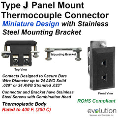Type J Miniature Panel Mount Thermocouple Connector