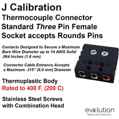 Thermocouple Connectors Standard Size Three Pin Female Type J