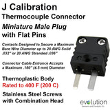 Miniature Male J Calibration Thermocouple Connector