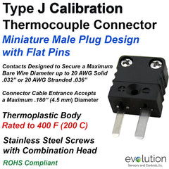 Type J Miniature Male Thermocouple Connector - Flat Pin Male Plug Design