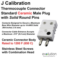 Thermocouple Connectors Standard Size Ceramic Male Solid Pins Type J