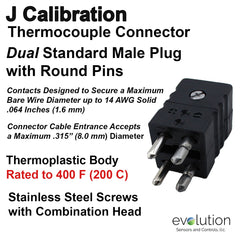 Thermocouple Connectors Standard Size Duplex Male Type J