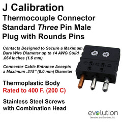 Thermocouple Connectors Standard Size Three Pin Male Type J