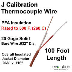 Thermocouple Wire Type J 20 Gage PFA Insulated 100 ft Long