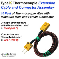 Thermocouple Extension Cable Type K PFA Insulated Wire with Miniature Male and Female Connector