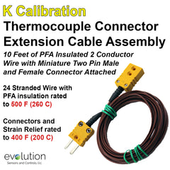 Thermocouple Connector Extension Cable 10 feet of PFA Wire with Miniature Male and Female Connectors