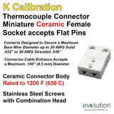 Thermocouple Connectors Miniature Ceramic Female Type K