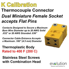 Thermocouple Connectors Miniature Duplex Female Type K