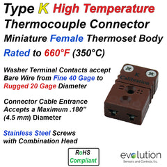 Type K High Temperature Miniature Female Thermocouple Connector - Thermoset Design