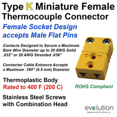 Type K Miniature Female Thermocouple Connector