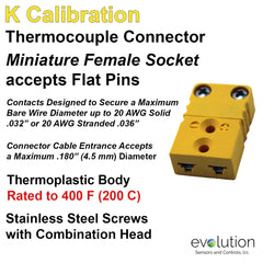 Thermocouple Connector Miniature Female Type K