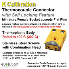 Thermocouple Connectors Miniature Locking Female Type K