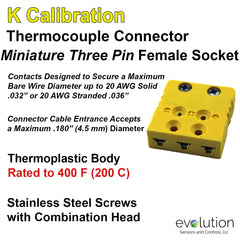Thermocouple Connectors Miniature Three Pin Female Type K