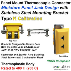 Type K Miniature Panel Mount Thermocouple Connector