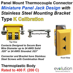 Miniature Panel Mount Thermocouple Connector Type K