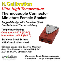 Thermocouple Connectors Miniature Ultra High Temperature Female Type K