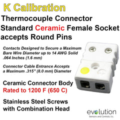 Thermocouple Connectors Standard Size Ceramic Female Type K