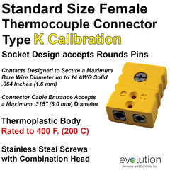 Type K Standard Size Female Thermocouple Connector
