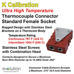 Thermocouple Connectors Standard Size Ultra High Temperature Female Type K