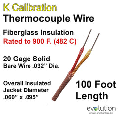 Thermocouple Wire Type K 20 Gage Fiberglass Insulated 100 ft Long