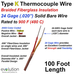 """Type K Thermocouple Wire 24 Gage with 900 F (480 C) rated Fiberglass Insulation - 100ft Long with .020"""" Solid Wire"""