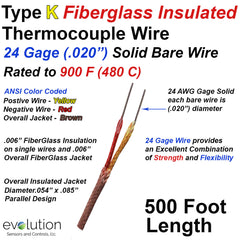 Type K Fiberglass Insulated Thermocouple Wire - 24 Gage Solid Diameter 500 ft Long Rated to 900 F (480 C)