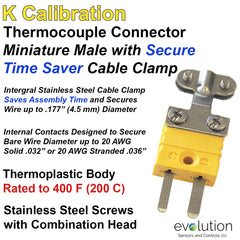 Type K Male Miniature Thermocouple Connector with Integral Wire Clamp