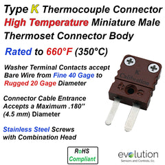 Type K High Temperature Miniature Male Thermocouple Connector - Thermoset Design