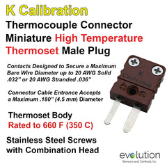 Type K Miniature Male Connector - Rugged High Temperature Thermoset Body rated to 660 F (350)