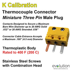 Thermocouple Connectors Miniature Three Pin Male Type K