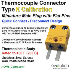 Miniature Male Type K Thermocouple Connector