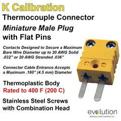 Miniature Male K Calibration Thermocouple Connector