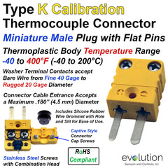 Type K Miniature Male Thermocouple Connector