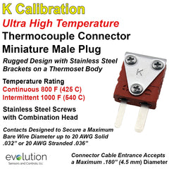Thermocouple Connectors Miniature Ultra High Temperature Male Type K
