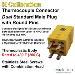 Thermocouple Connectors Standard Size Duplex Male Type K