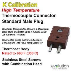 Thermocouple Connectors Standard Size High Temperature Male Type K