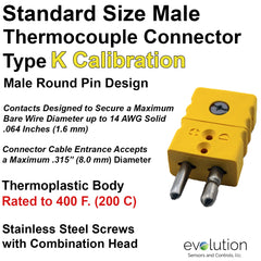 Type K Standard Size Male Thermocouple Connector