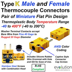 Type K Miniature Male and Female Thermocouple Connector Set - Mating Pair