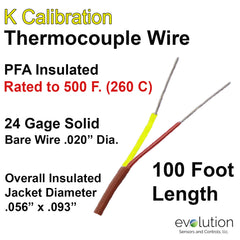 Thermocouple Wire Type K 24 Gage PFA Insulated 100 ft Long