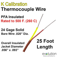 Type K Thermocouple Wire 24 Gage Solid PFA Insulated 25 ft Long