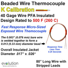 Micro Beaded Thermocouple Type K with 80 inches of PFA Lead Wire with Stripped Leads