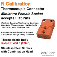 Thermocouple Connectors Miniature Female Type N