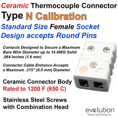 Ceramic Thermocouple Connector Type N Standard Size Male