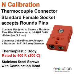 Thermocouple Connectors Standard Size Female Type C