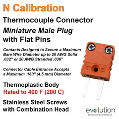 Type N Miniature Male Thermocouple Connector