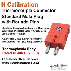 Thermocouple Connectors Standard Size Male Type N