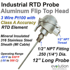 "RTD Probe with 1/2 ""NPT Fitting and Aluminum Flip Top Connection Head - 12 Inch Long x 1/4"" Diameter Stainless Steel Probe"