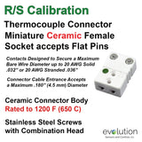 Thermocouple Connectors Miniature Ceramic Female Type RS